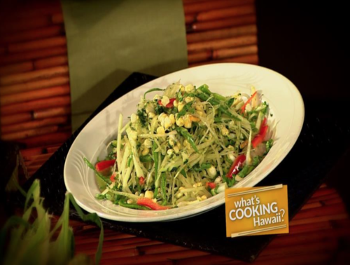 Green Papaya Salad with Cilantro-Basil Dressing